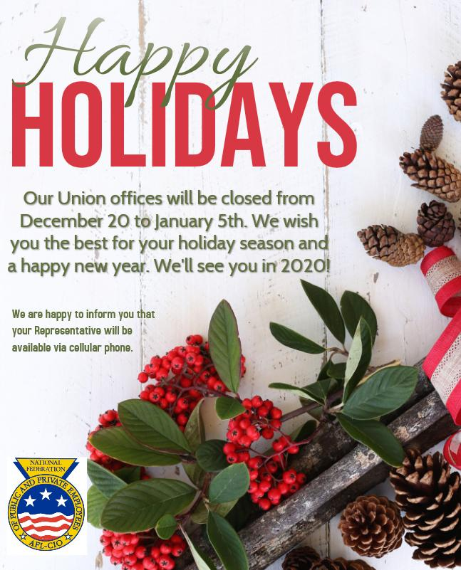 Union Hall Closed For The Holidays! December 20 – January 5
